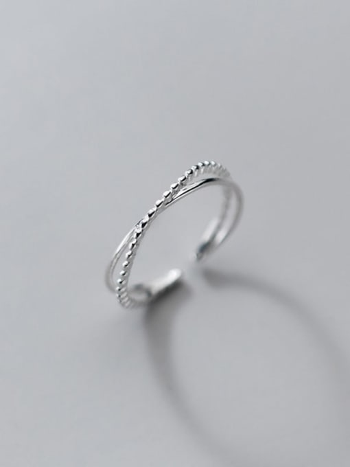 Rosh 925 Sterling Silver Irregular Minimalist Band Ring 0