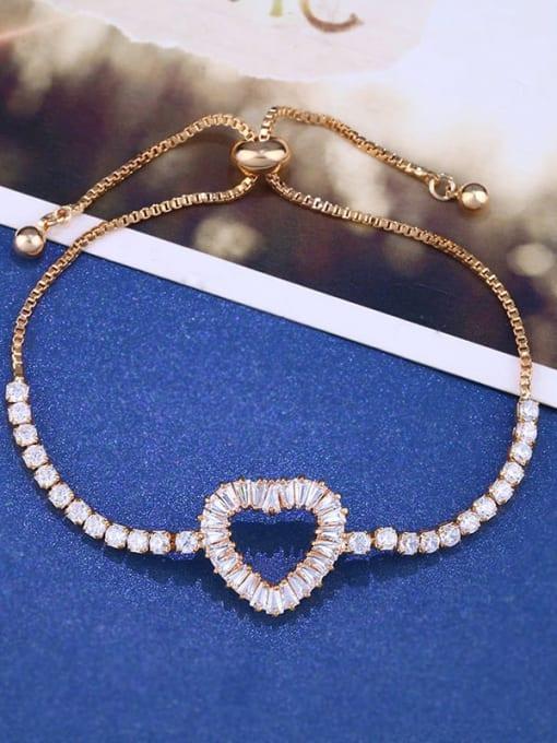 golden Brass Cubic Zirconia Heart Dainty Adjustable Bracelet