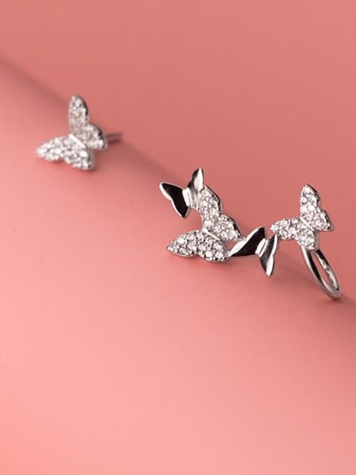 Rosh 925 Sterling Silver Cubic Zirconia Butterfly Dainty Clip Earring