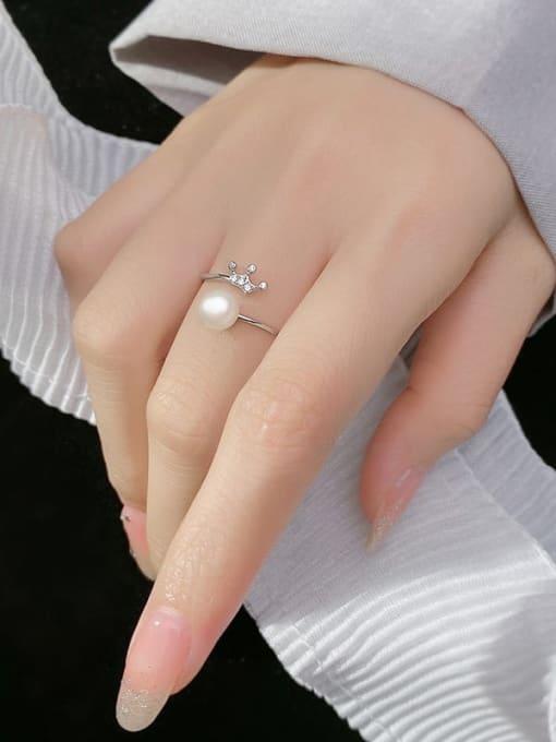 Rosh 925 Sterling Silver Imitation Pearl Crown Minimalist Band Ring 3