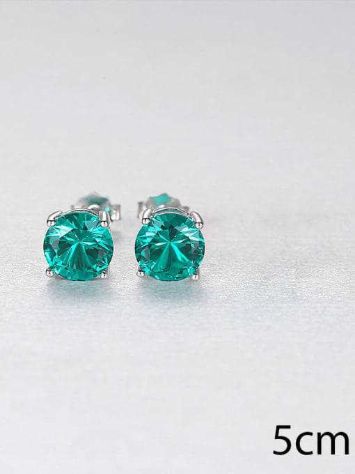 green 0.5 925 Sterling Silver Cloisonne Geometric Minimalist Stud Earring