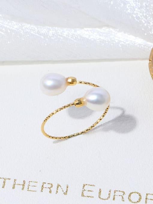 RAIN Brass Freshwater Pearl Irregular Minimalist Band Ring 2