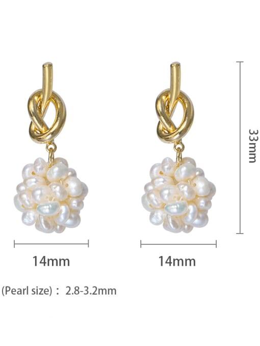 1 Brass Freshwater Pearl Bowknot Vintage Stud Earring