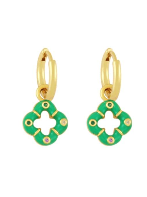 green Brass Enamel Clover Vintage Huggie Earring