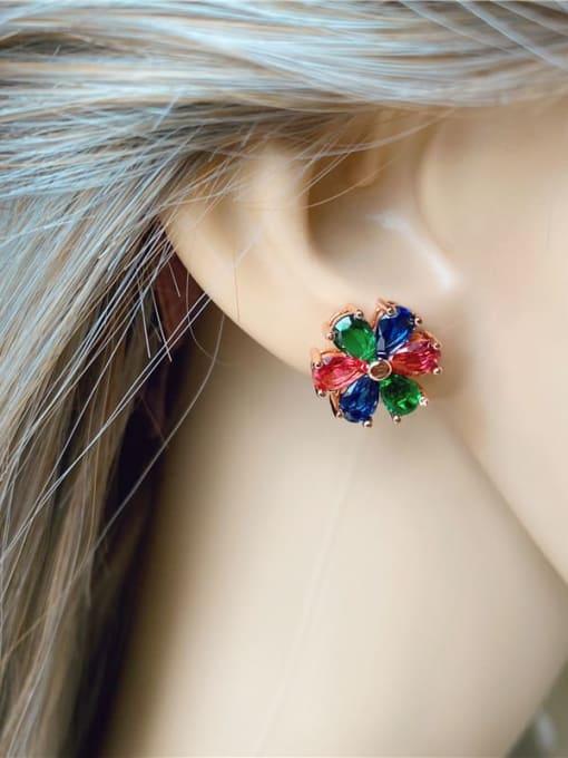 DUDU Brass Cubic Zirconia Multi Color Flower Dainty Stud Earring 3