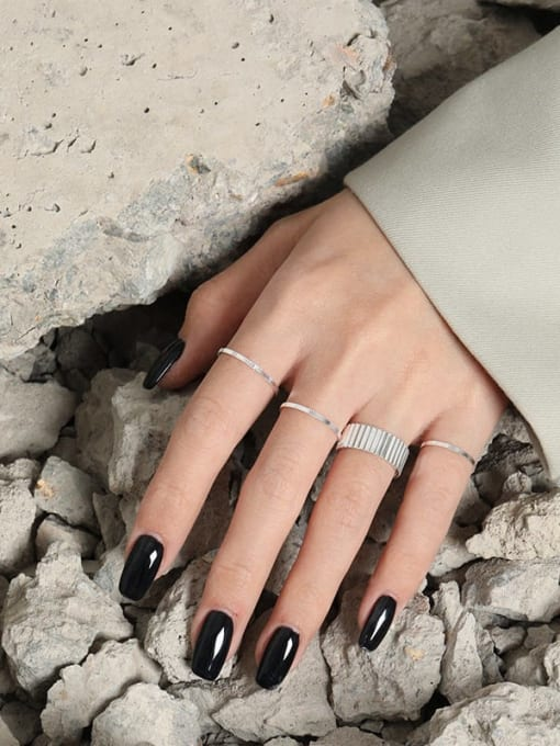 DAKA 925 Sterling Silver Geometric Minimalist Band Ring 3