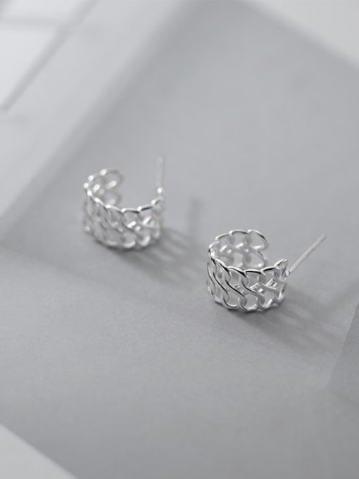 Rosh 925 Sterling Silver  Minimalist Woven hollow C-shaped earrings 3