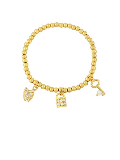 B Brass Cubic Zirconia Ball Hip Hop Beaded Bracelet
