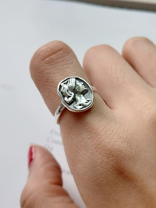 Boomer Cat 925 Sterling Silver Geometric Vintage Portrait Band Ring 1