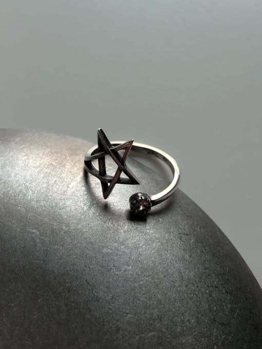 Boomer Cat 925 Sterling Silver Hollow Star Vintage Band Ring 2