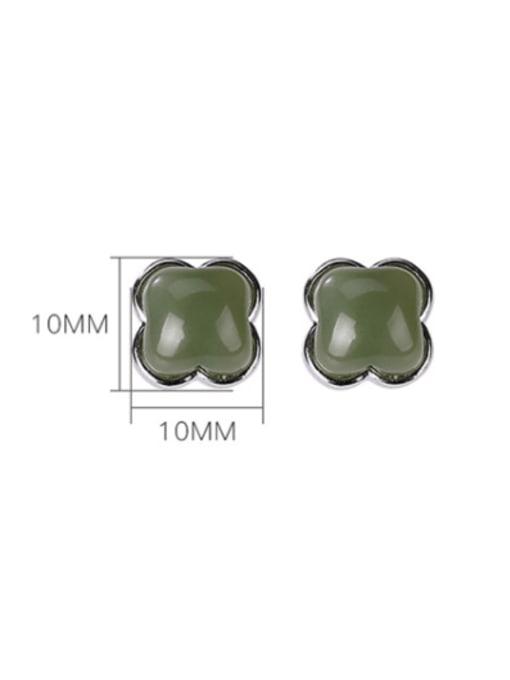 DEER 925 Sterling Silver Jade Square Vintage Stud Earring 3