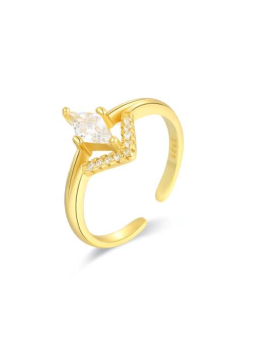 Boomer Cat 925 Sterling Silver Cubic Zirconia Geometric Minimalist Band Ring