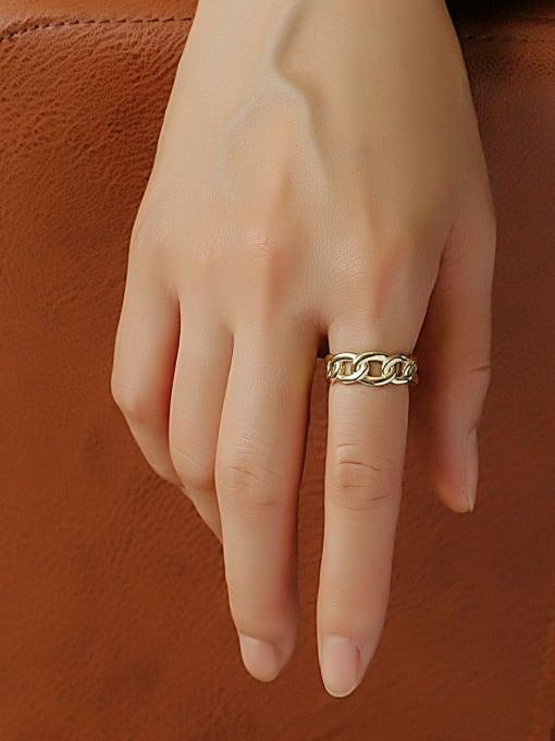 CHARME Brass Hollow Geometric Minimalist Band Ring 2