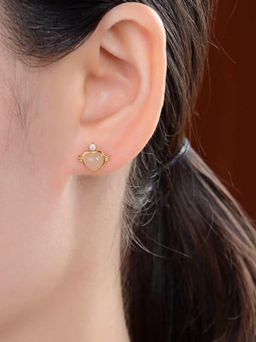 DEER 925 Sterling Silver Jade Heart Vintage Stud Earring 1