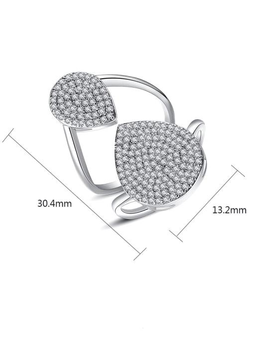 BLING SU Copper Cubic Zirconia Geometric Luxury Band Ring 3
