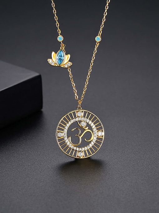YTN 012 Brass Cubic Zirconia Geometric Vintage Necklace