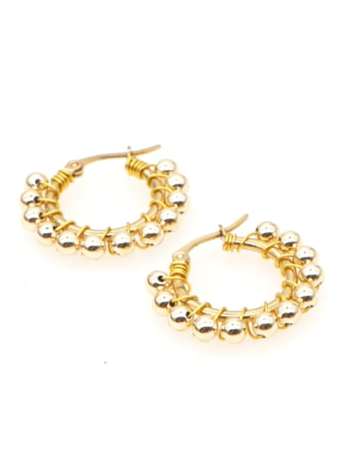 Roxi Stainless steel Bead Geometric Minimalist Huggie Earring 1