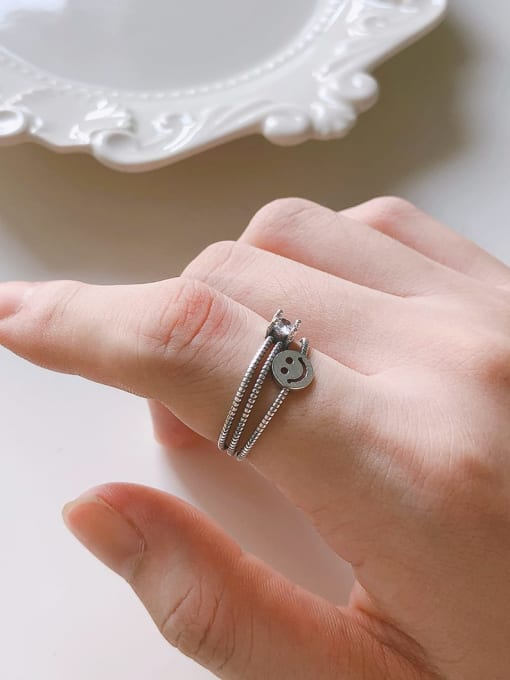 Boomer Cat 925 Sterling Silver Smiley Vintage Stackable Ring 1