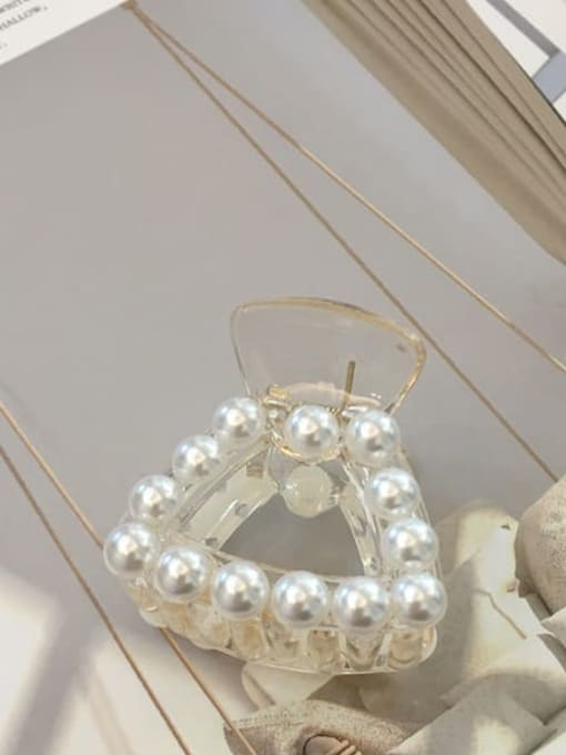 8# sector Alloy Cellulose Acetate Minimalist Geometric  Imitation Pearl Jaw Hair Claw