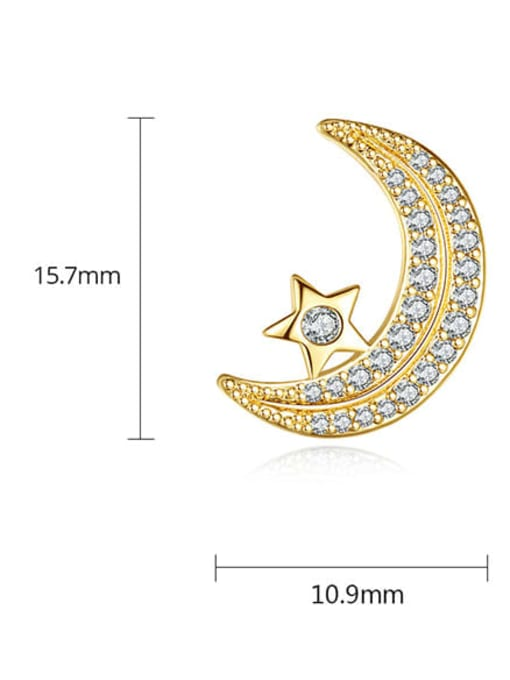 BLING SU Copper Cubic Zirconia Moon Classic Stud Earring 4