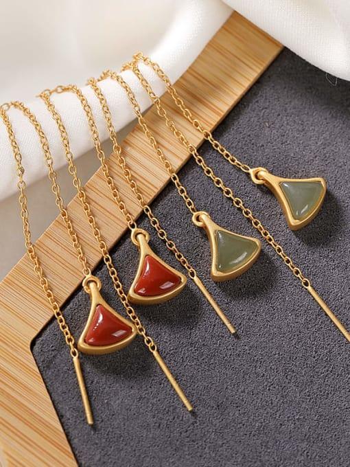 DEER 925 Sterling Silver Jade Triangle Vintage Threader Earring