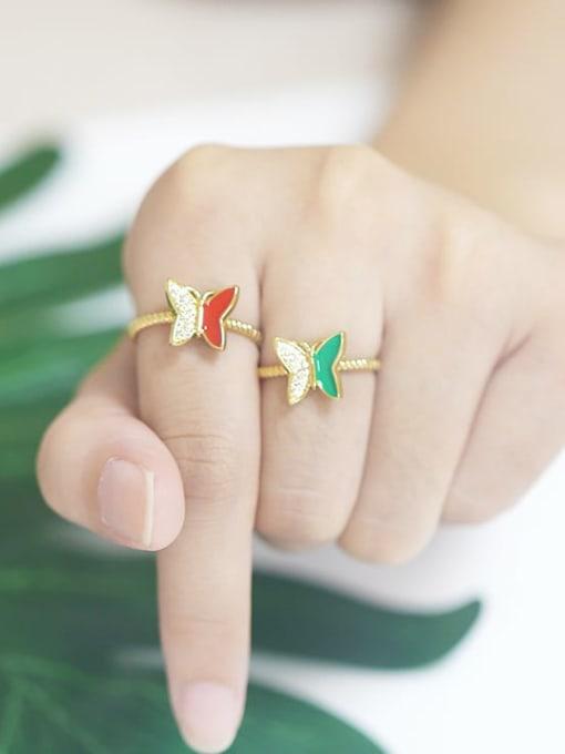 CC Brass Enamel Rhinestone Butterfly Minimalist Band Ring 1