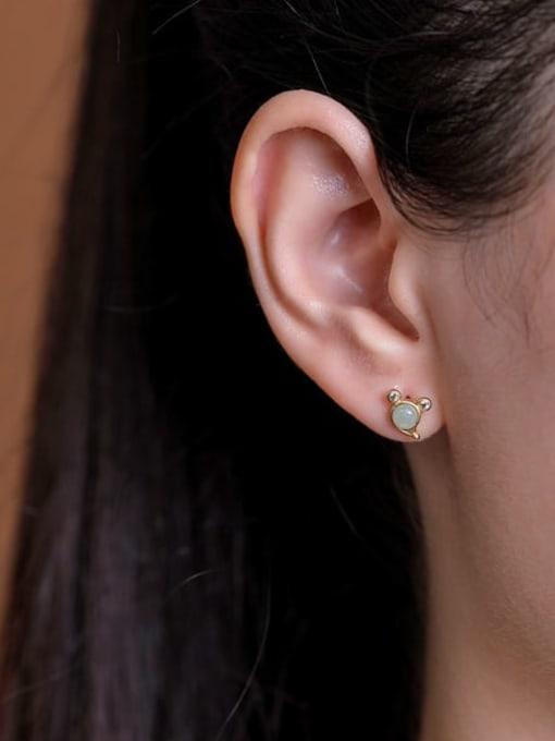 DEER 925 Sterling Silver Jade Mouse Vintage Stud Earring 1