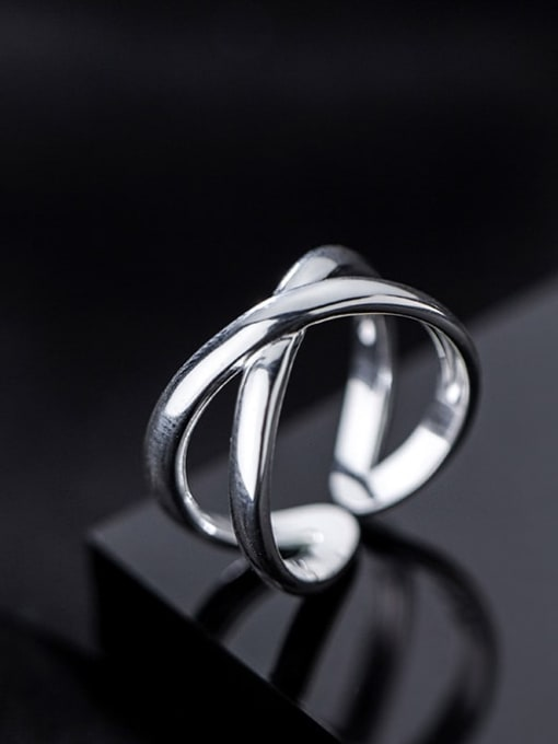 Rosh 925 Sterling Silver Cross Minimalist Band Ring 1