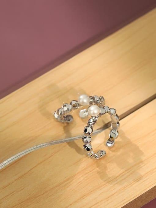 DAKA 925 Sterling Silver Freshwater Pearl Irregular Minimalist Band Ring 3