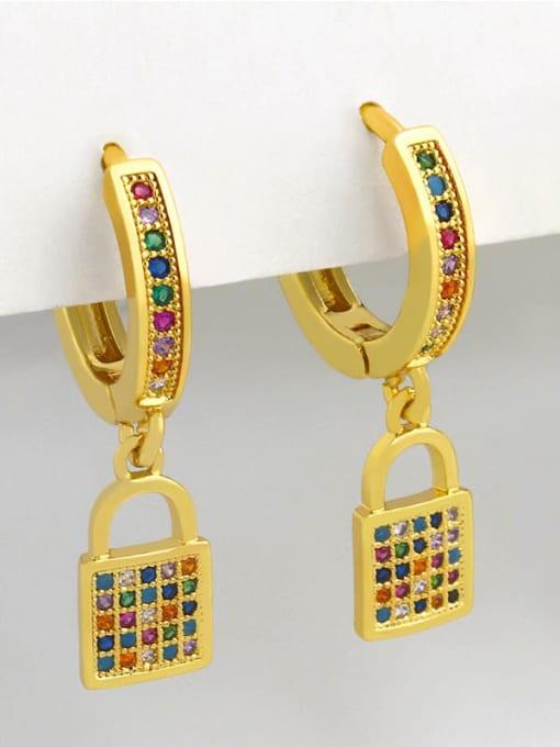 CC Brass Cubic Zirconia Moon Vintage Huggie Earring 2