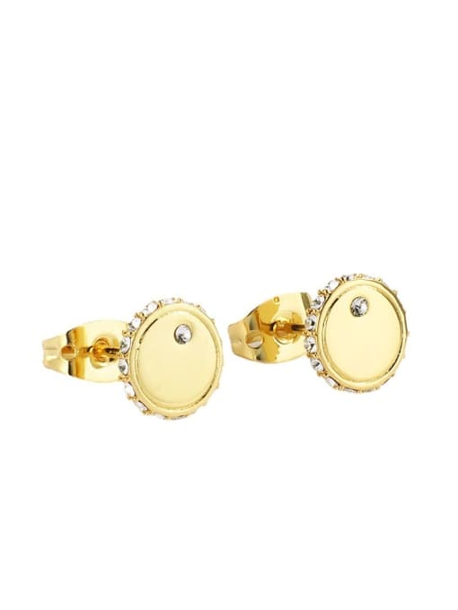 CHARME Brass Cubic Zirconia Round Minimalist Stud Earring 0