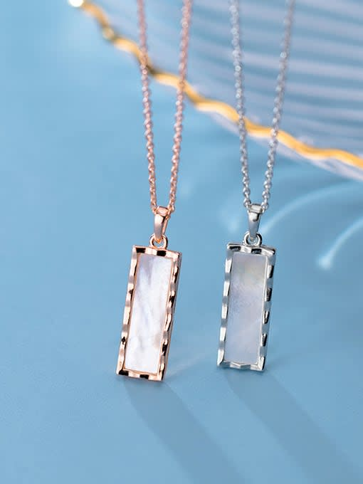 Rosh 925 Sterling Silver Shell Geometric Minimalist Pendant Necklace