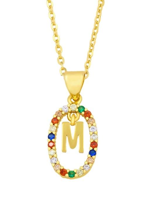 M Brass Cubic Zirconia Letter Vintage Oval Pendant Necklace