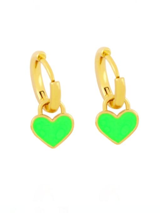 green Brass Enamel Heart Minimalist Huggie Earring