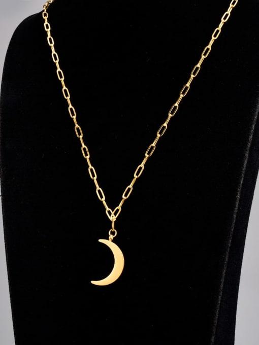 A TEEM Titanium Steel Smooth Moon Minimalist Pendant Necklace 3