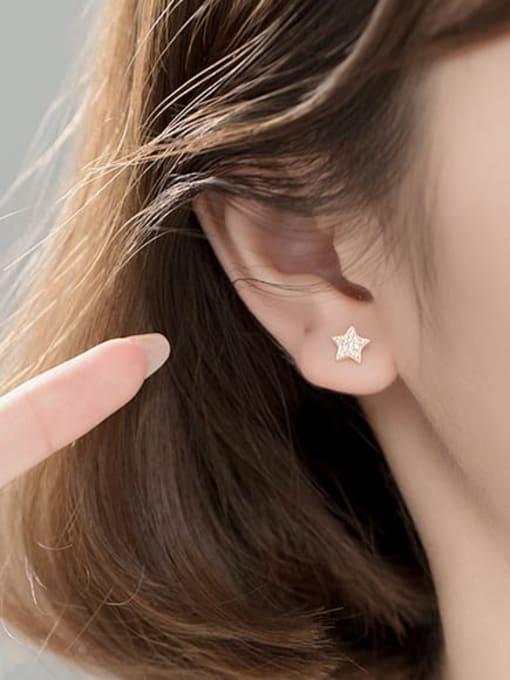 Rosh 925 Sterling Silver Rhinestone Star Minimalist Stud Earring 1
