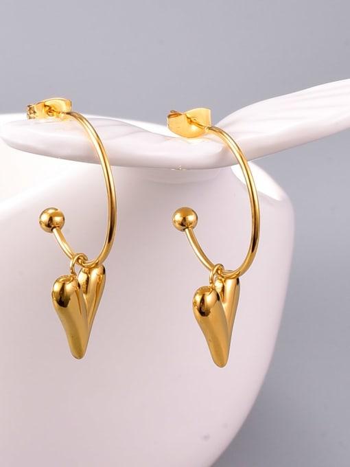 A TEEM Titanium Steel Smooth Heart Minimalist Huggie Earring 3