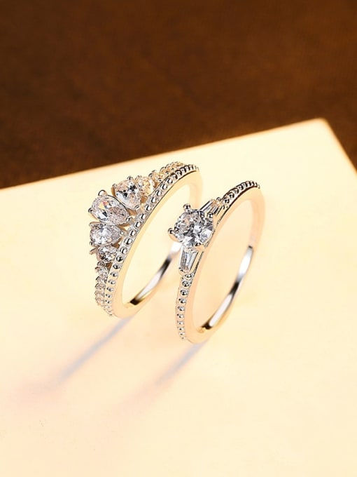 9# 925 Sterling Silver Cubic Zirconia Crown Dainty Band Ring