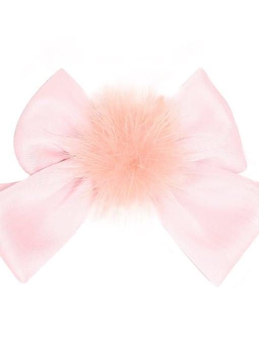 2 Peach Pink Alloy Fabric Cute Bowknot  Multi Color Hair Barrette