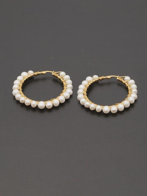 Roxi Stainless steel Freshwater Pearl Geometric Minimalist Huggie Earring