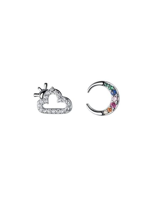 Rosh 925 Sterling Silver Cubic Zirconia  Asymmetry Moon Cute Stud Earring 3