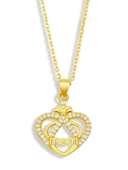 CC Brass Cubic Zirconia Mom Heart Minimalist Necklace 3