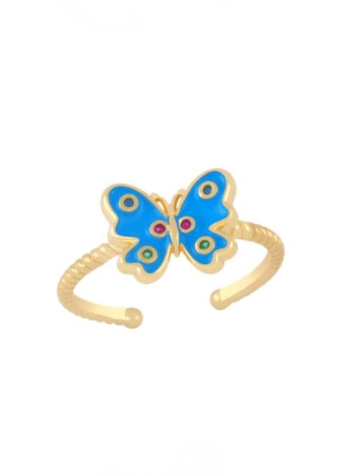 blue Brass Enamel Butterfly Minimalist Band Ring