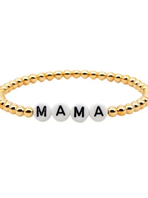 QT B200015H Stainless steel Bead Acrylic Letter Bohemia Beaded Bracelet