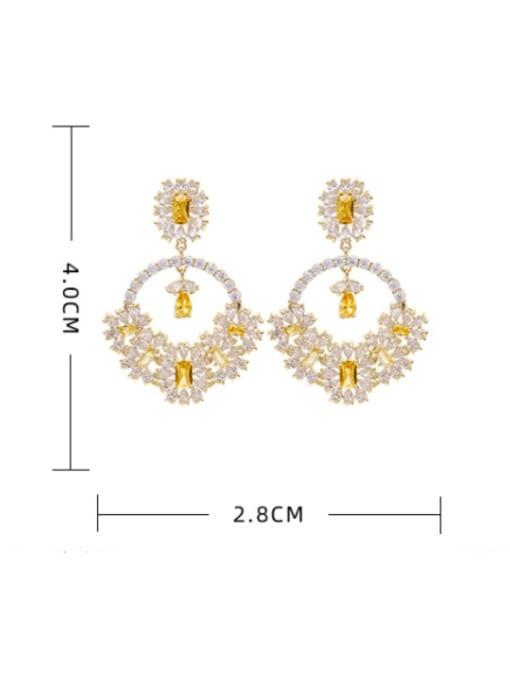 Luxu Brass Cubic Zirconia Flower Statement Drop Earring 1