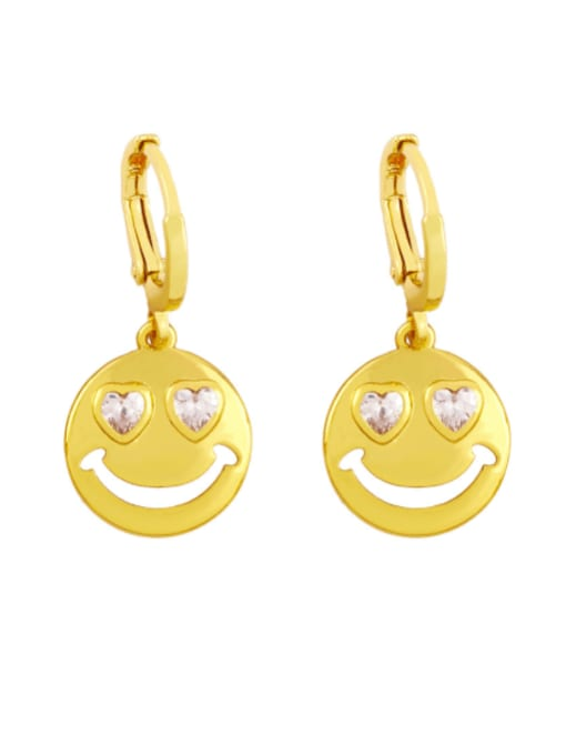 CC Brass Rhinestone Smiley Minimalist Huggie Earring 1