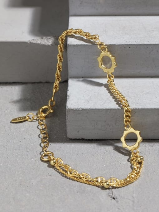 DAKA 925 Sterling Silver Geometric Vintage Link Bracelet 4