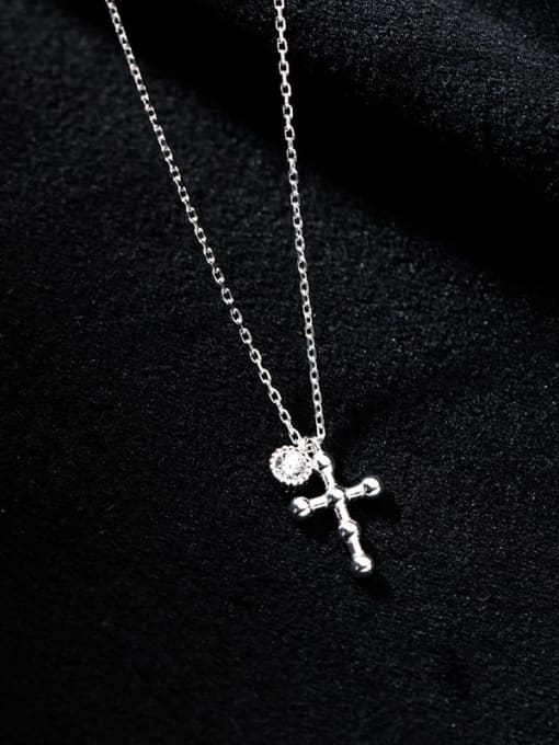 Rosh 925 Sterling Silver Cross Minimalist Regligious Necklace 1