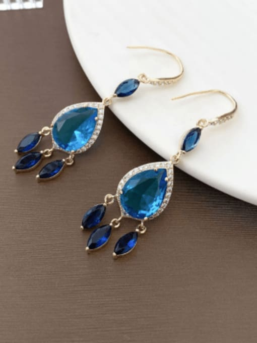 Blue Brass Cubic Zirconia Water Drop Trend Hook Earring