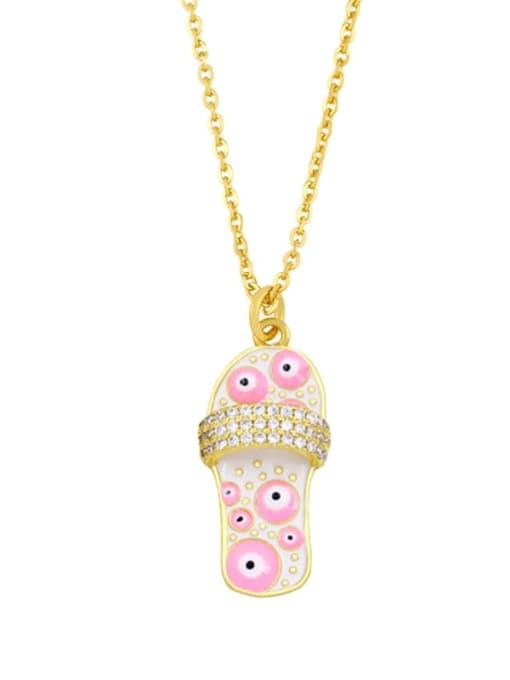 F (white) Brass Cubic Zirconia Enamel Irregular Vintage Necklace